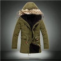 Мужская зимняя куртка парка на меху В НАЛИЧИИ, хаки (PS_02) Размер 44-48