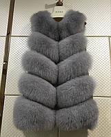 Меховая жилетка  большие размеры Gray 85см