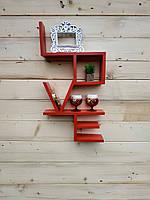 "Поличка з натурального дерева ""LOVE red ""(Полочка из натурального дерева ""LOVE red "")"