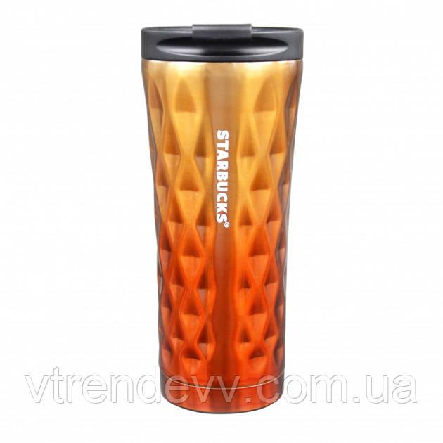 Термокружка хамелеон Starbucks тамблер Старбакс кружка термос Diamond Waves 500 мл Золотистая Оранжевая