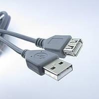 Подовжувач USB (шт. A - гн.А) version 2,0, діам.-4,5 мм, 1,8 м., сірий