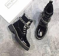 Зимние женские ботинки BALMAIN с мехом внутри ( кожа / овчина) Бальман Коллекция 2019/2020  Зима