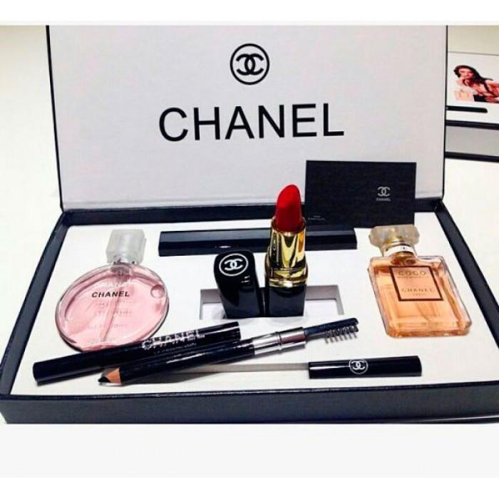 Подарочный набор Chanel 5 в 1, духи + косметика, набор Шанель