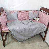 """Бортики в кроватку """" серо- пудровые"""", фото 1"""