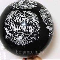 """Чёрный воздушный шарик с надписью """"Hello Halloween"""", фото 1"""