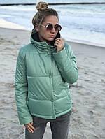 Женская осенняя куртка с капюшоном на силиконе 200 42 44 46 48 50 52 54 черная розовая мятная хаки бордо