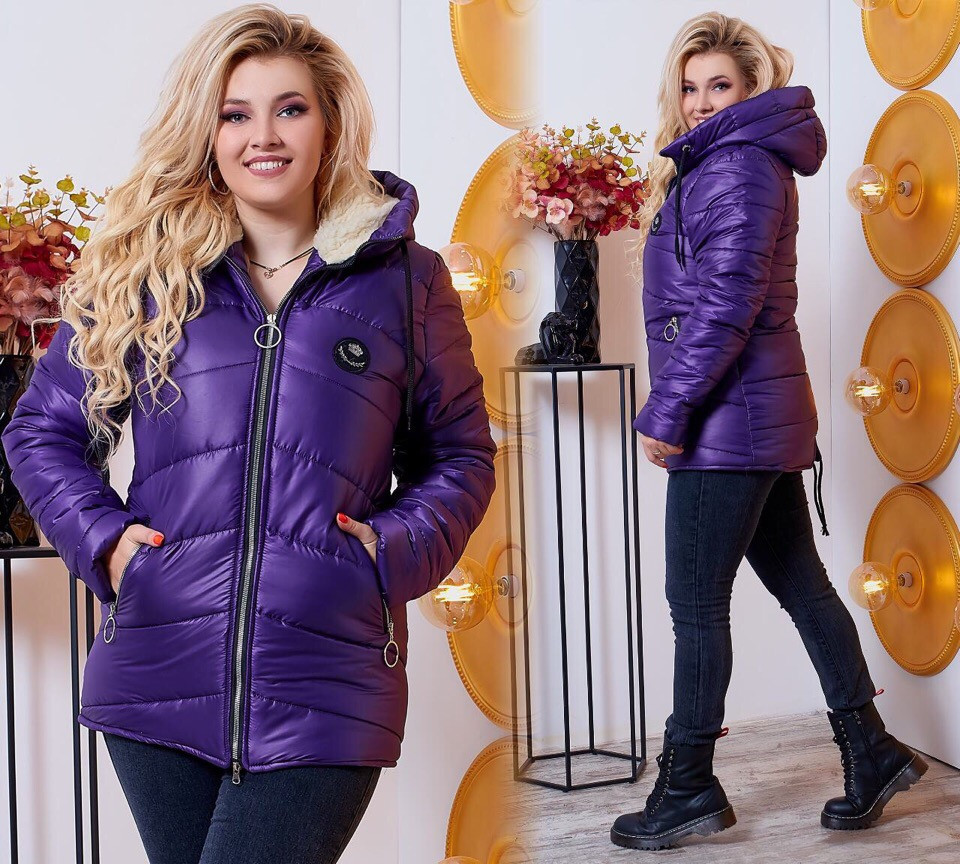 Утепленная куртка на зиму, баклажан, 48-58