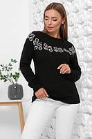 Женский вязаный красивый свитер с круглым вырезом размер 44-48 черный