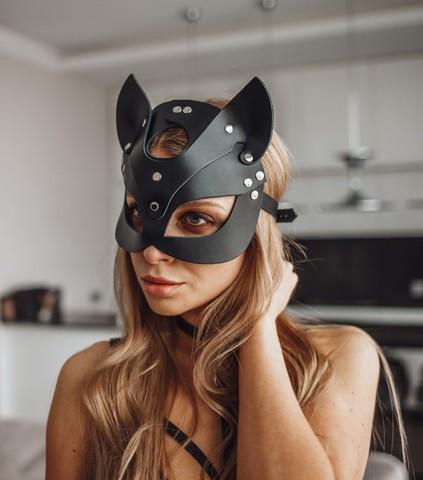 Кожаная маска кошки Cat Ear BDSM