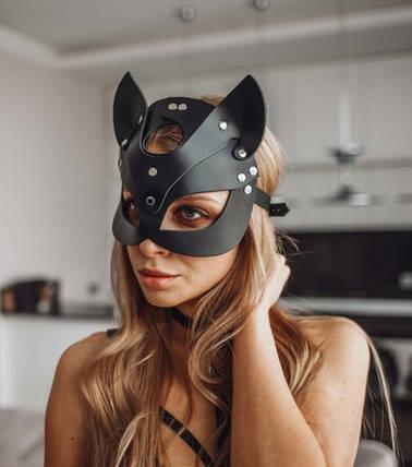 Кожаная маска кошки Cat Ear BDSM, фото 2