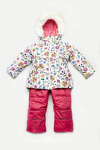 """Зимний детский костюм-комбинезон """"Цветочки"""" для девочки 86-104 см"""
