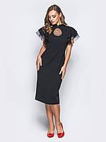 Вечернее черное платье-футляр из нежного гипюра в горошек 44 46 48 50 52