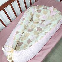 Кокон-гнездышко розовый с пупырышкой + ортопедическая подушка для новорожденных, фото 1