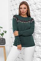 Женский вязаный красивый свитер с круглым вырезом размер 44-48 изумрудный