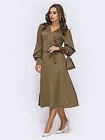 Нарядное Платье на запах миди цвет мокко 44-46 48-50