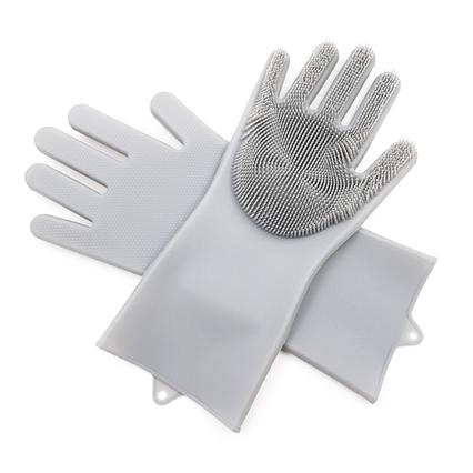 Хозяйственные силиконовые перчатки для уборки и мытья посуды Magic Silicone Gloves Серый