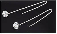 Сережки подвески циркон покрытие 18К платина