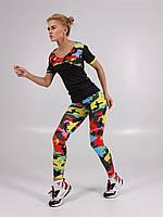 Женский камуфляжный фитнес костюм (футболка+лосины)