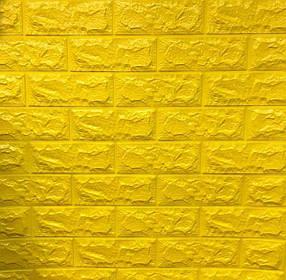 3D панель самоклеящая Обои под декоративный кирпич Самоклейка Желтый 3Д кирпич