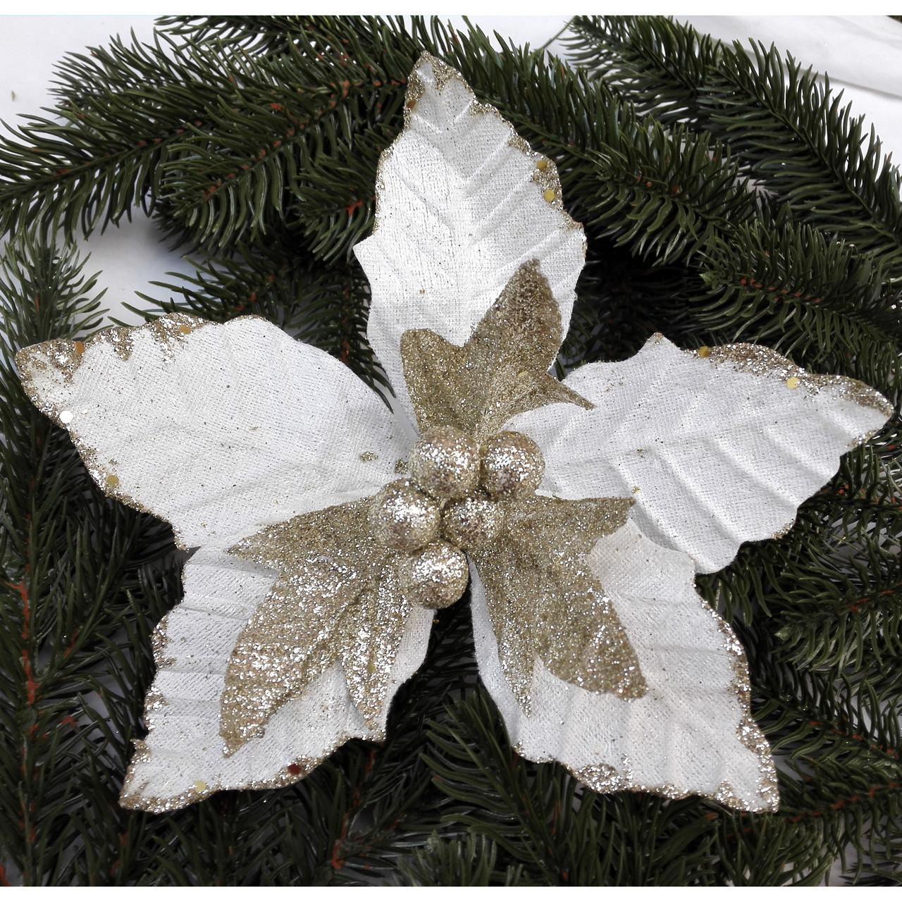 Пуансетия белая с золотом ветка 19 см