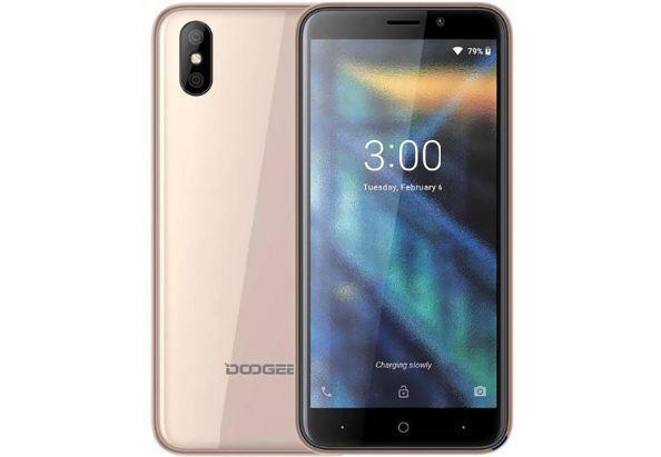 Смартфон на 2 сим карты с двойной камерой 5 дюймов 1/16Gb Doogee X50L золотистый
