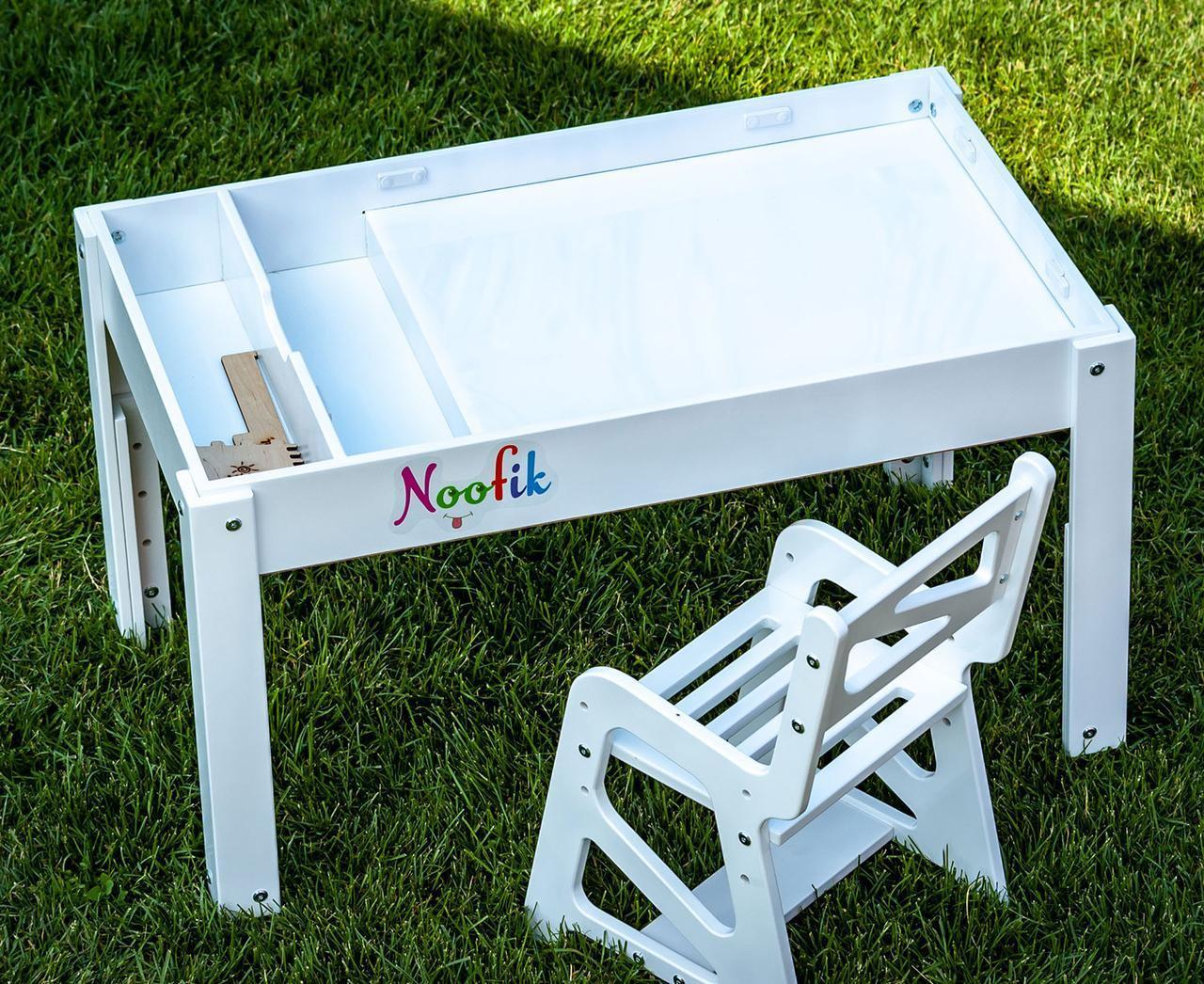 Детский Световой стол-песочница для анимации Noofik (МДФ, белый) и стульчик. + подарок набор трафаретов