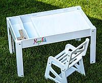 Детский Световой стол-песочница для анимации Noofik (МДФ, белый) и стульчик. + подарок набор трафаретов, фото 1