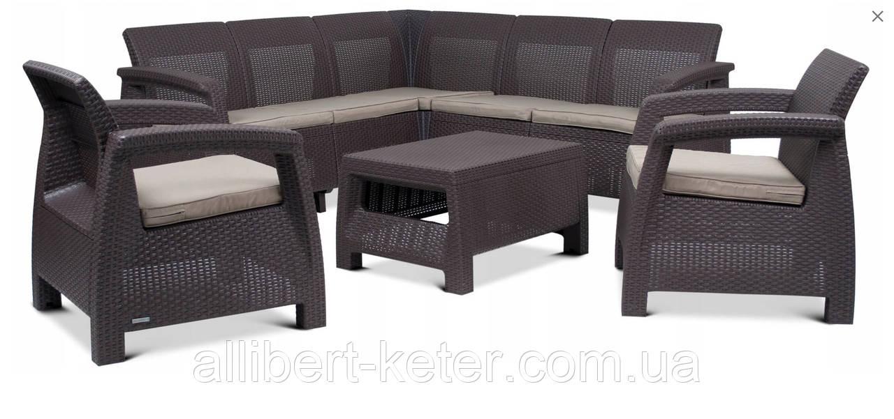 Набор садовой мебели Corfu Relax Set Duo Brown ( коричневый ) из искусственного ротанга