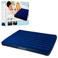 Пляжный надувной полуторный матрас - плот велюровый синий 68759 SH INTEX 152-203-22 см