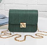 Красивые сумки женские Terra клатч с цепочкой на плечо песочный розовый зеленый красный, фото 3