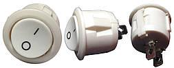Перемикач 1 клав круглий білий YL213-02 (KCD1-5-101 WH/WH) АНАЛОГИ