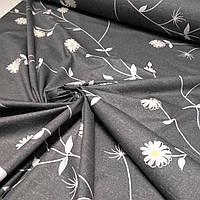 Сатин цветы на графите ширина 220 см, фото 1
