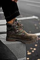 Ботинки Мужские Тimberland Military Brown (Термо) из натуральной кожи
