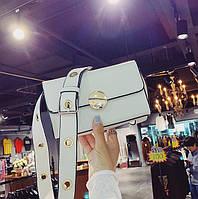 Модная белая Сумка женская на широком ремне Ketty