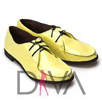 Туфли женские кожаные лакированные лимонного цвета  5011-5-2lime  продажа женской обуви Украина недорого