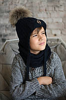 """Мериносовая зимняя шапка и снуд для мальчика с огромным бубоном из натурального енота """"Бенни"""", 48, 50, 52"""