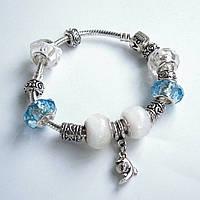 Женский браслет Pandora (Пандора) белый с дельфином