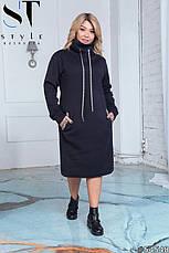 Платье женское  серое теплое большие размеры 50-60, фото 3