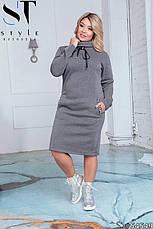Платье женское  серое теплое большие размеры 50-60, фото 2