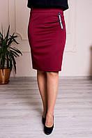 Женская юбка с поясом на резинке бордовая, фото 1