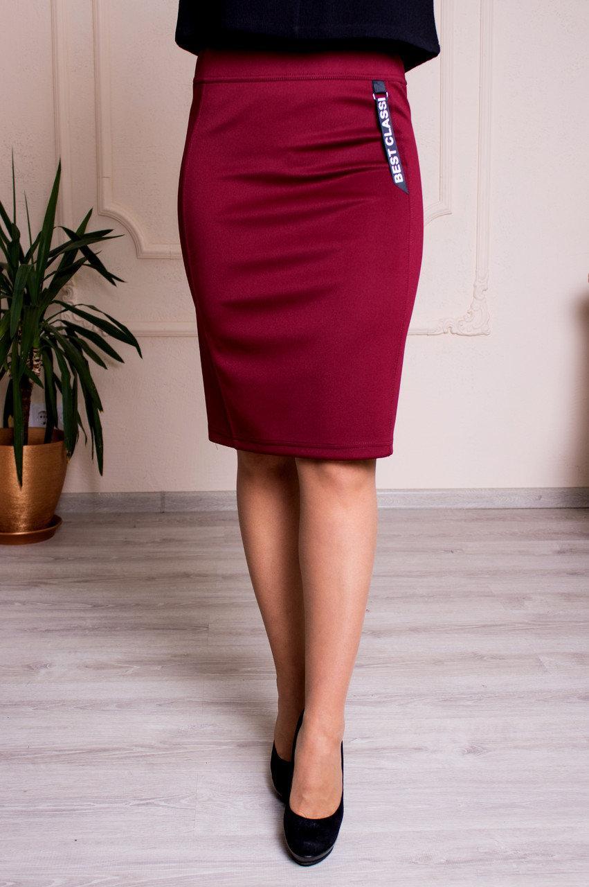 Женская юбка с поясом на резинке бордовая