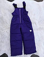 Зимние штанишки-полукомбинезон со светооражательным рисунком Фиолетовые