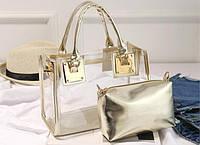 Женская Силиконовая сумка прозрачная с косметичкой
