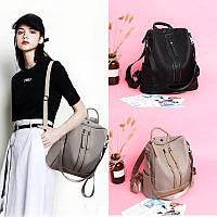 Женская сумка-рюкзак однотонный Черный Бежевый