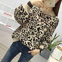 Стильный вязанный свитер с леопардовым рисунком