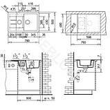 Двойная гранитная мойка Adamant ANILA PLUS 04 Gray 78*50, фото 3
