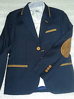Пиджак школьный для мальчика, трикотажный с латками.Турция. Размер 122-128