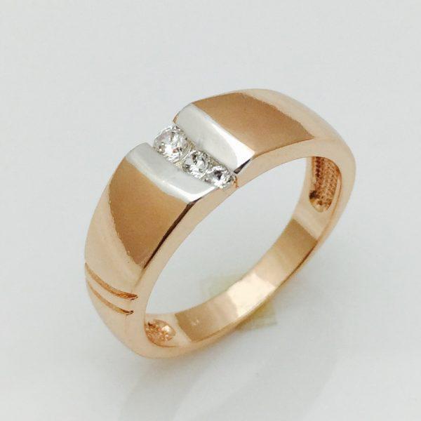 Кольцо Три камня позолота 18К , размер 16, 17, 18, 19