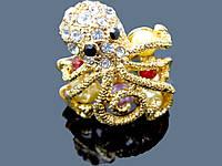 Кольцо женское , родиевое покрытие осьминог крупное  0092
