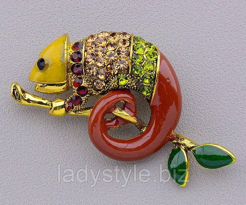 Яркая брошь- хамелеон цветной от студии LadyStyle.Biz